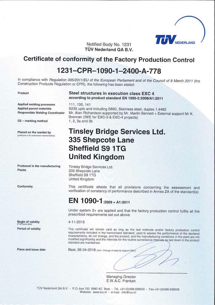 EN 1090-1 Certificate - Tinsley Bridge Services Ltd