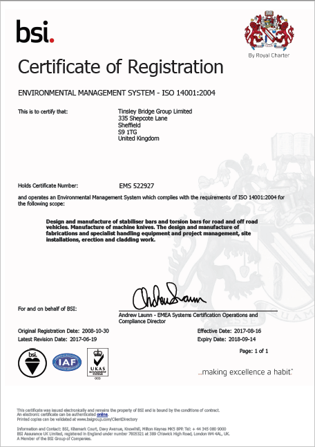TBG - ISO 14001 Environmental Management Certificate - EMS 522927 - Valid until 14-09-2018