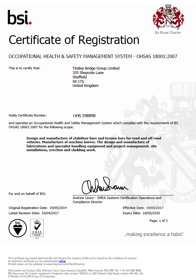 TBG - OHSAS 18001 Health & Safety Management Certificate - OHS 598898 Valid until 18-05-2020