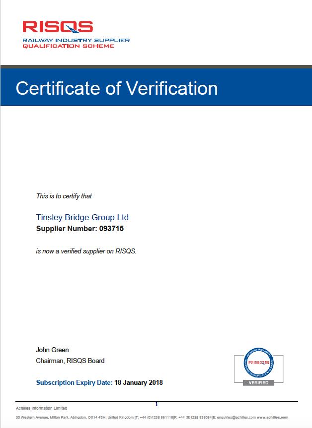 TBG-RISQS Community Certificate
