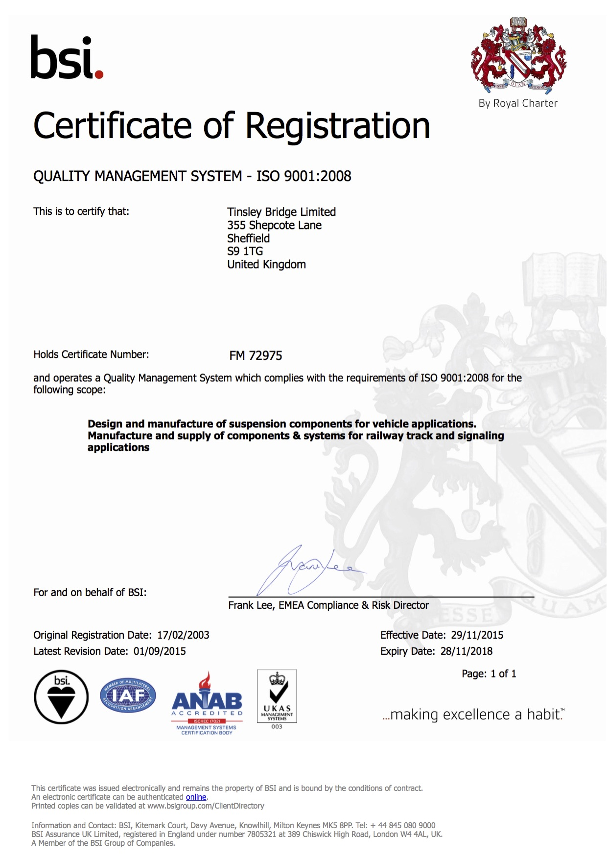 ISO 9001:2008 Certificate - Tinsley Bridge Limited