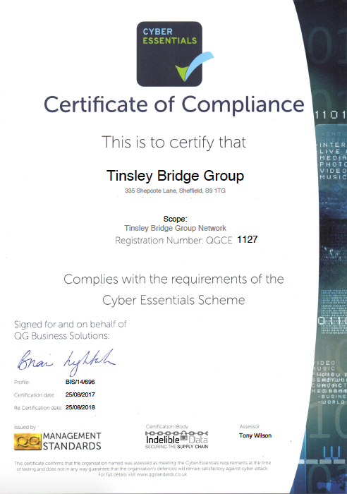 Tinsley Bridge Cyber Essentials Certificate of Compliance