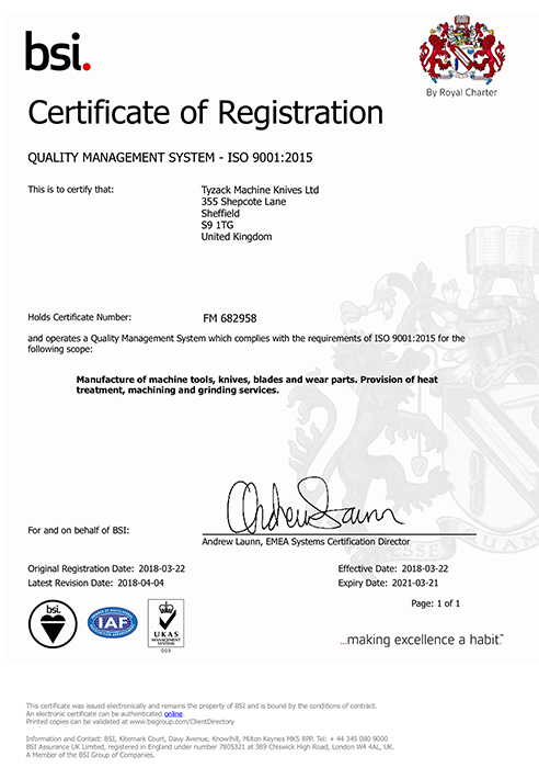 TYZACK - ISO 9001 Quality Management System Certificate - FM 682958