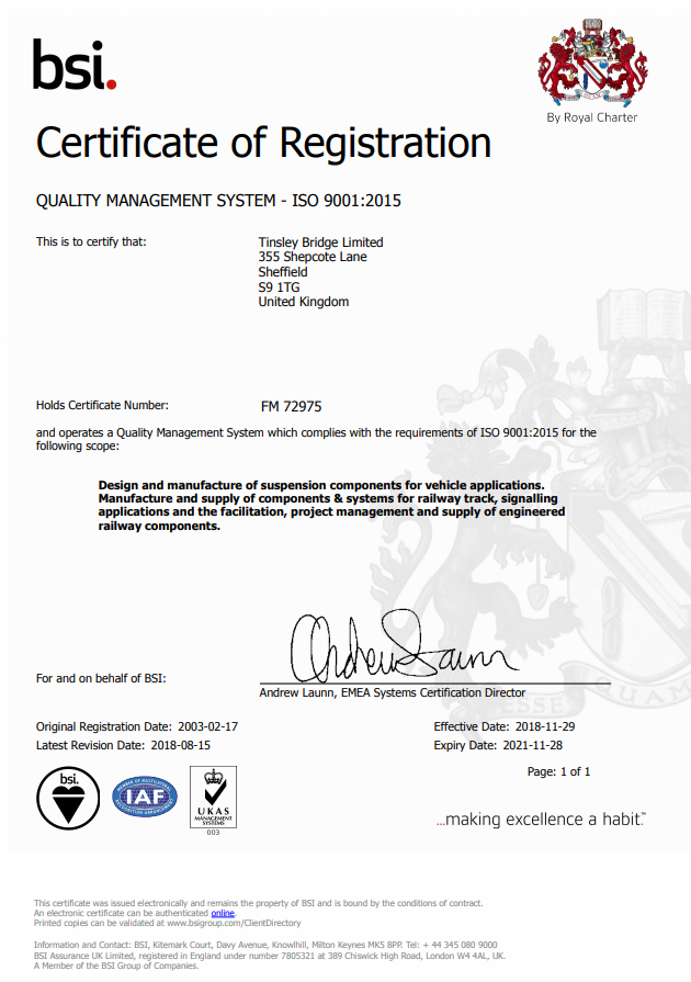 Quality Management Certificate 2015 72975
