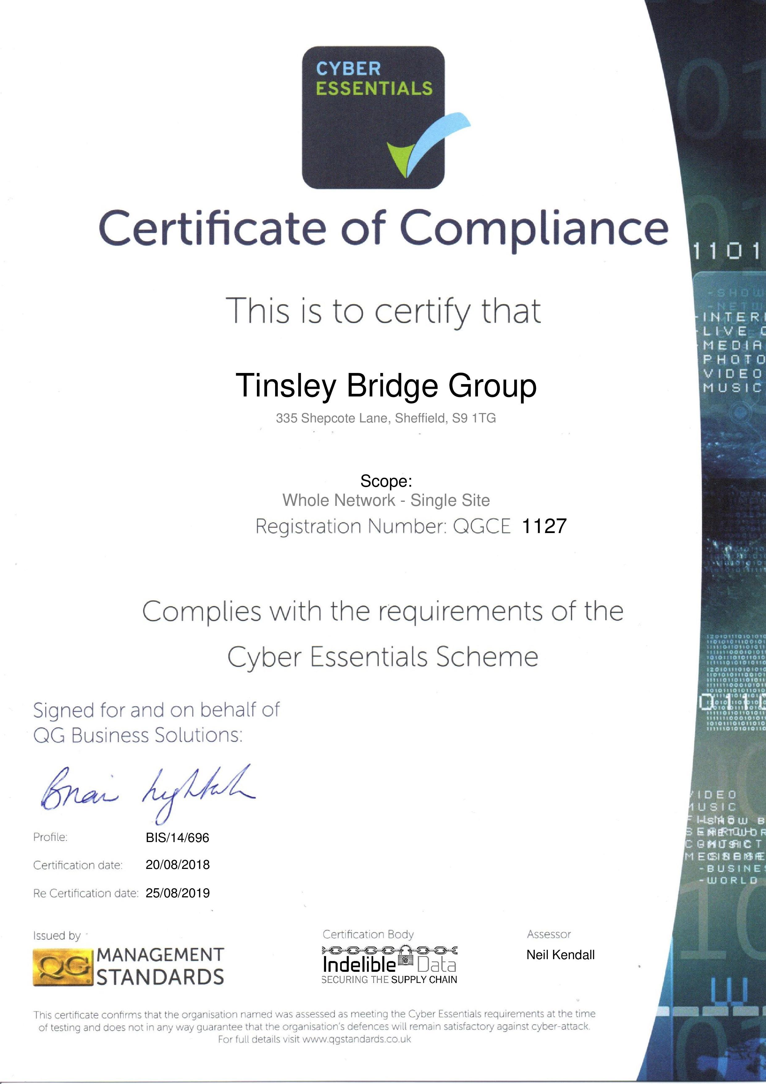 Cyber Essential Certificate 2018