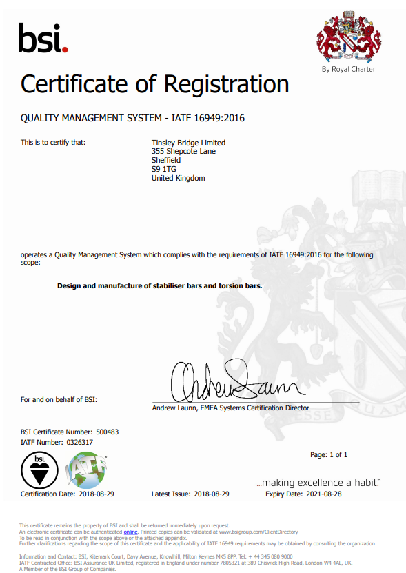 ISO/TS 16949:2016 Certificate - Tinsley Bridge Limited