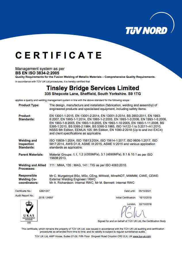 BS EN ISO 3834-2 Certificate