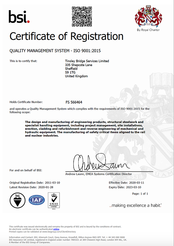 TBSL ISO-9001-2015 Quality Management System Certificate FS-566464 Valid until 10-03-2023