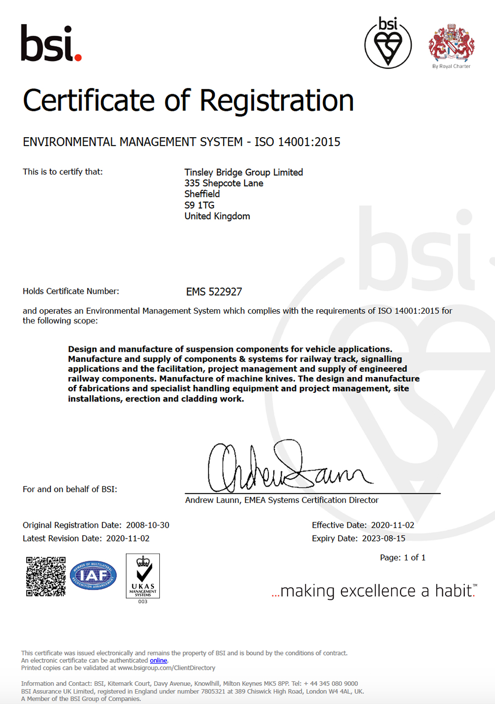TBG - ISO 14001(2015) Environmental Management System Certificate - EMS 522927 - Valid until 15-08-2023