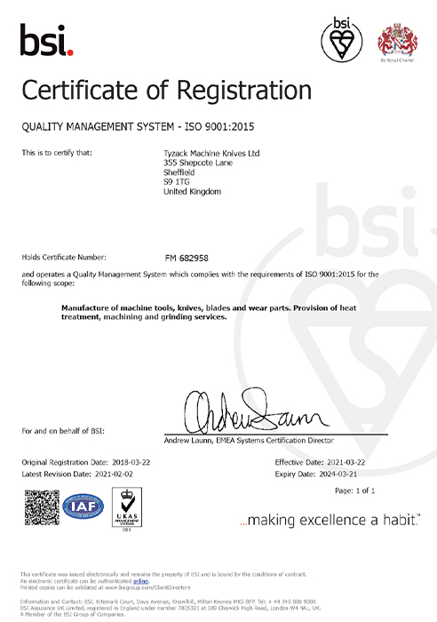TYZACK ISO-9001 Quality-Management System Certificate 2021